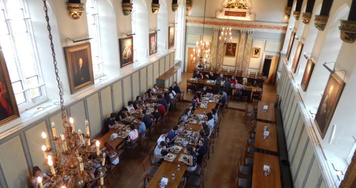 Students have dinner at Jesus College during their summer at Oxford