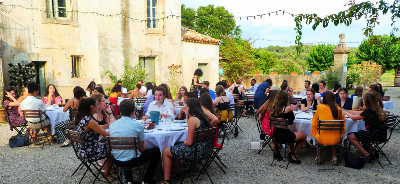 students enjoy a meal during Oxbridge in Montpellier