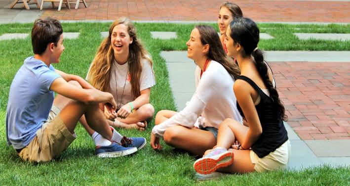 Group of Oxbridge students in front of Barnard College, New York