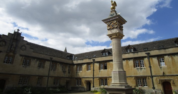 High front view of Corpus Christi College, Oxford UK